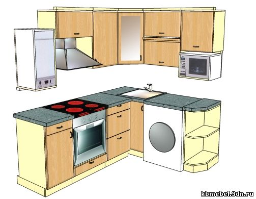Дизайн мебели для кухни хрущёвки с колонкой